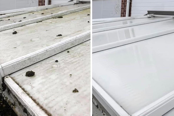 before & after conservatory cleaning