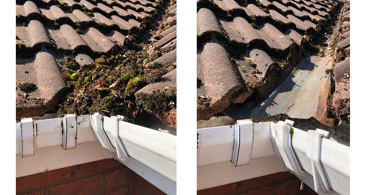 dirty and clean gutter, gutter cleaning service
