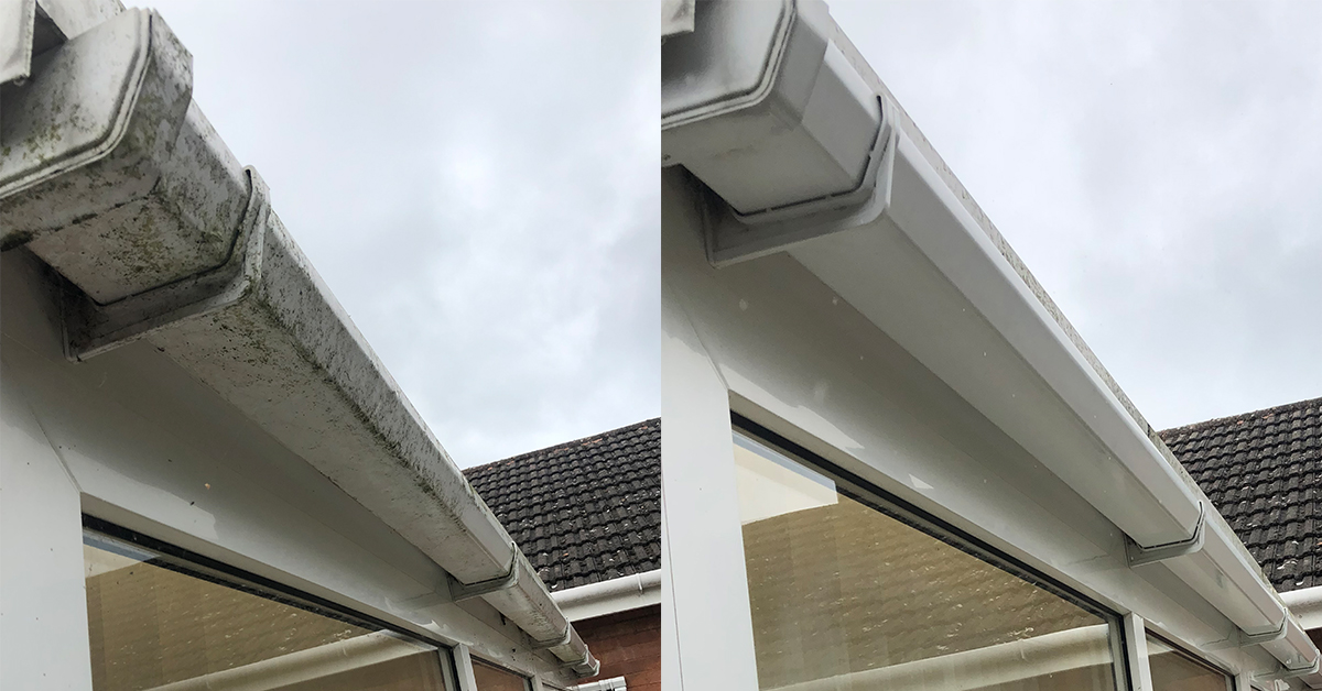 Gutter cleaning, before and after gutter cleaning, clean gutter